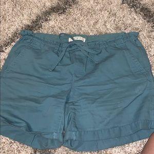 Ann Taylor Loft Teal Blue Midi Bermuda Shorts Long